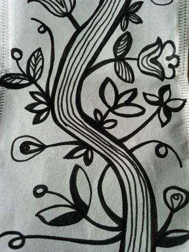 Bianco e nero su bustina da tea
