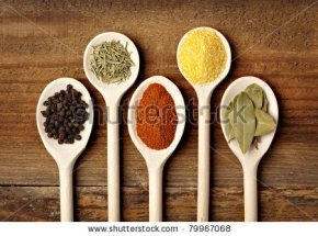 stock-photo-collection-of-various-food-ingredients-in-wooden-spoons-79967068