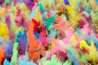 People throw coloured powder in the air during Holi festival celebrations in Berlin
