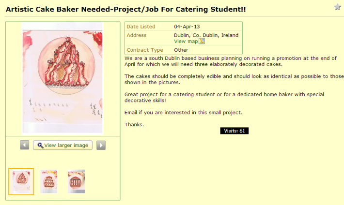 Artistic Cake Baker Needed Project Job For Catering Student   in Dublin   Chefs   Cooks   Kitchen   Gumtree Ireland