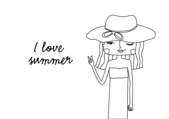 summer-girl-illustration-black-and-white